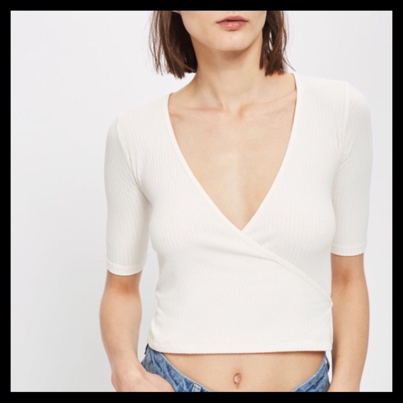 e8bbbf0ba4a2 TOPSHOP Half Sleeve Ribbed Wrap Top White